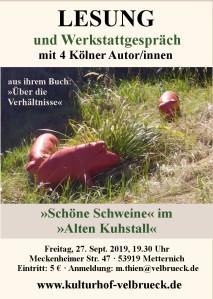 Lesung Schoene Schweine Kulturhof Velbrueck